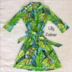 Lilly Pulitzer parrots & palm print silk dress - 4